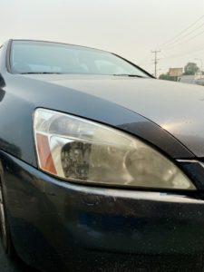 close up of headlight on car