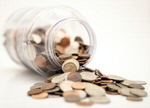 spilled coins from a jar